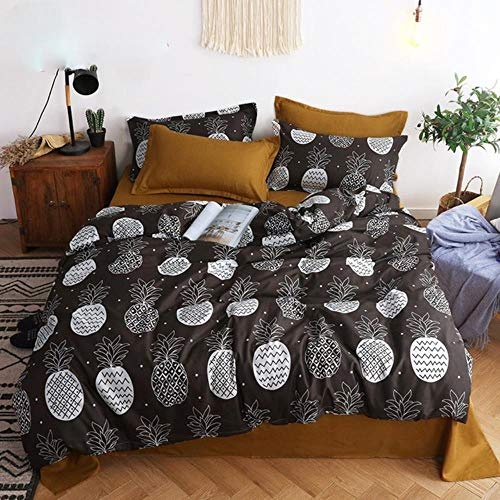 PENVEAT Nordic Bed Linen Set Cotton Kid Cute Animal Quilt Funda nórdica y sábana Stripe Plaid Size Single Double Queen King, piña, Single 3pcs 150X200