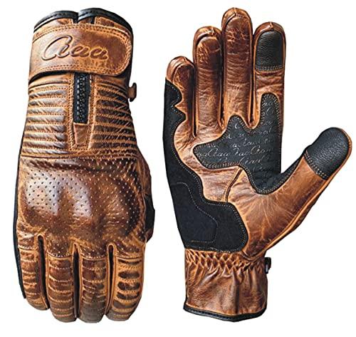 Motorrad Motorradhandschuhe Echtes Vintage Leder Knöchelschutz Touchscreen (L)