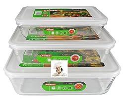Pyrex, Set of 3 Pyrex Dishes with plastic lids. Sizes - 19cm - 22cm - 25cm