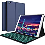 iPad Keyboard Case for New 2018 iPad, 2017 iPad, iPad Pro 9.7, iPad Air 1 and 2/BT Backlit Detachable Quiet Keyboard – Slim Leather Folio Cover – 7 Color Backlight – Apple Tablet (9.7, Blue)