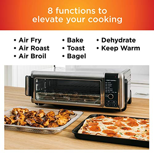 """Ninja Foodi 8-in-1 Digital, Toaster, Air Fryer, with Flip-Away for Storage Multi-Purpose Counter-top Convection Oven (SP101), 19.7"""" W x 7.5""""H x 15.1""""D, Stainless Steel/Black"""