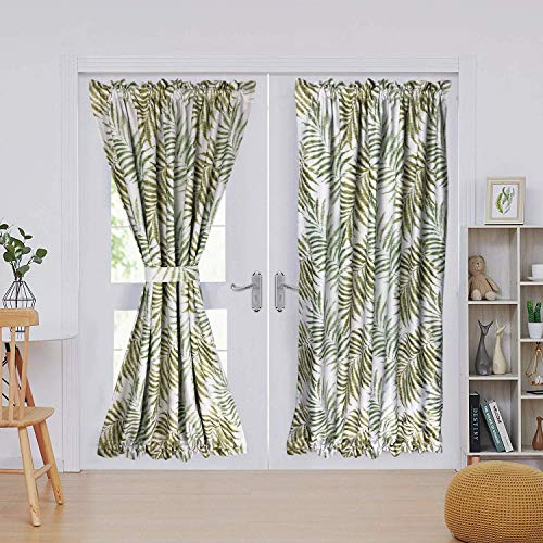 """MYRU 1 Panel Pastoral Blackout Curtain,Tropical French Door Curtain (1 x 54 Width 72"""" Length, Green Leaves)"""