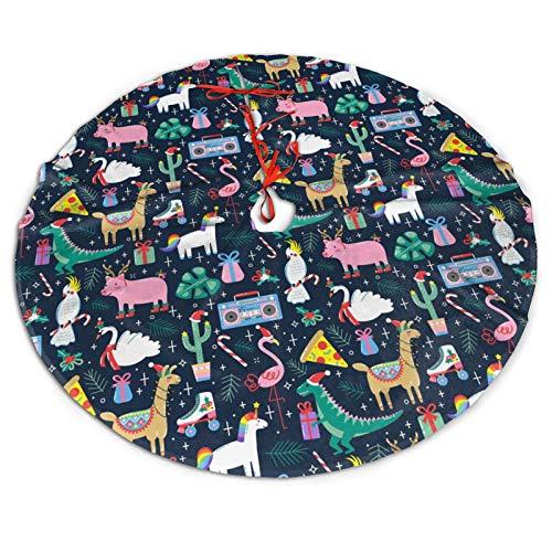 AIMASTZ Cute Christmas Flamingo Unicorn Dinosaur 48 Inch Christmas Tree Skirt, Personalized Holiday Xmas Decorations