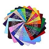 TOYANDONA 16 Piezas Pañuelos Cuadrados Unisex Diademas Paisley Estampado Verano Playa Bandana (Color Mezclado)