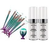 11PCS Makeup Brushes Set + 2 PACK TLM Foundation Color Changing Makeup Concealer Perfect Combination Set