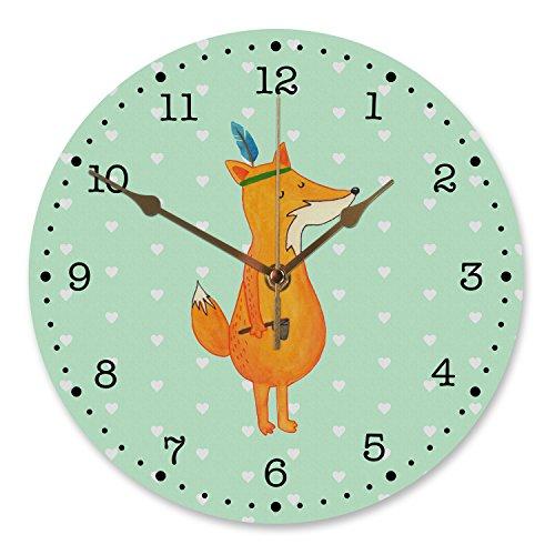 Mr. & Mrs. Panda 30 cm Wanduhr Fuchs Indianer - 100% handmade in Norddeutschland - witzig , Geschenk Koch, Wanduhr, Rund, Kinderzimmer, Füchse, Spruch lustig, Uhr, Indianer, Druck, Fuchs, Kunderuhr