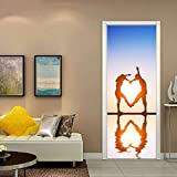 Mural de puerta extraíble, etiqueta de puerta 3D, autoadhesivo, decoración de pared, oficina de dormitorio, decoración de la casa, pareja
