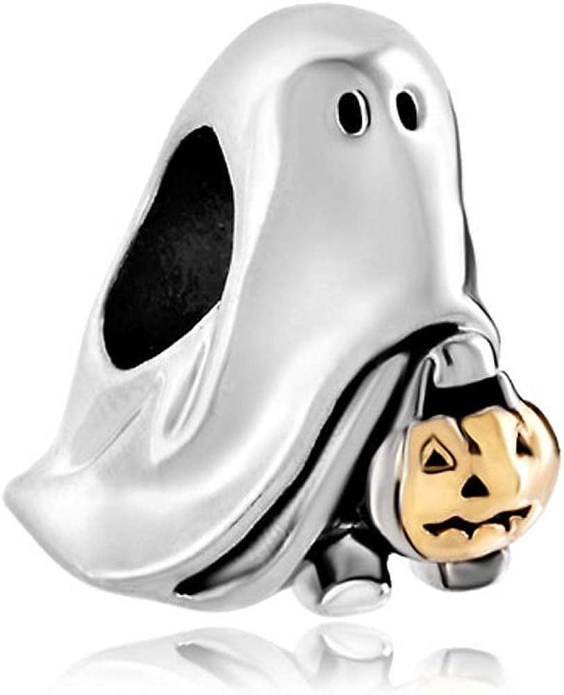 Heart of Charms Halloween Charm Ghost with Jack-o-Lantern Pumpkin Spooky Bead for Bracelet