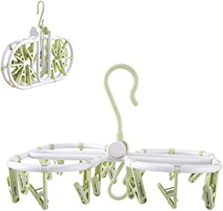 ETspark Foldable Clip and Drip Hangers with 20 Clips, Folding Laundry Drying Rack, Indoor Travel Laundry Hanger, Easily Storage, Space Saving (Green)