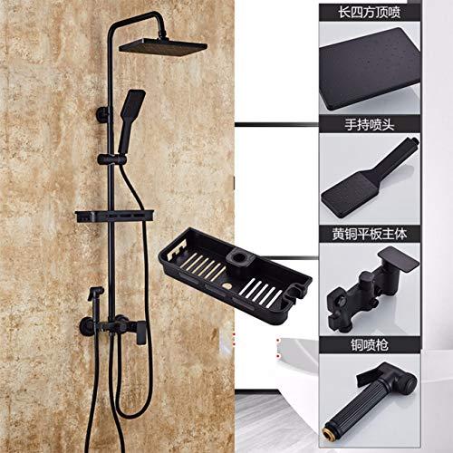 cuivre chauffe - eau douche ensemble noir fleurs ménages bain d'eau froide et d'eau chaude température constante pluie arrosage des toilettes,d