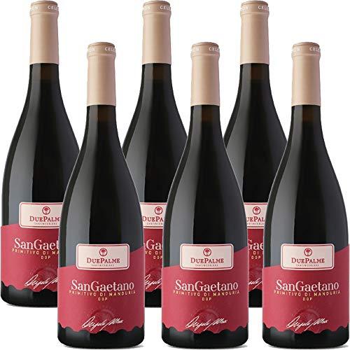 Primitivo di Manduria DOC Sangaetano   Cantina due Palme   I Vini della Puglia   Confezione da 6 Bottiglie da 75 Cl   Idea Regalo