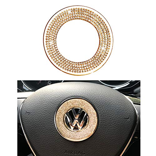 1797 Compatible Steering Wheel Logo Caps Decals Sticker for VW Volkswagen Accessories Parts Bling Jetta Passat Golf Tiguan Arteon Atlas Covers Interior Decoration Trim Women Men Crystal Gold