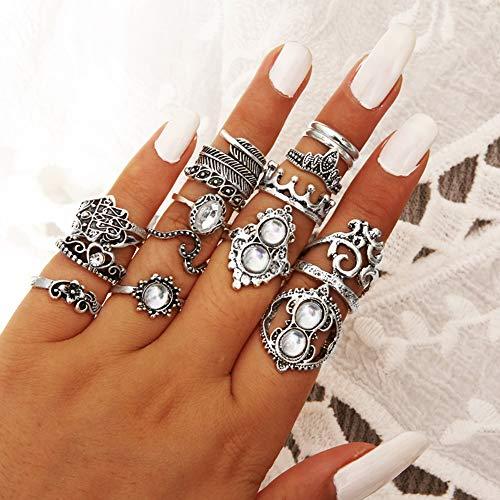 Anel Opeof Conjunto com 16 peças retrô, boho, mão Hamsá, coroa, anel de falange, joias, anéis empilháveis - prata antiga