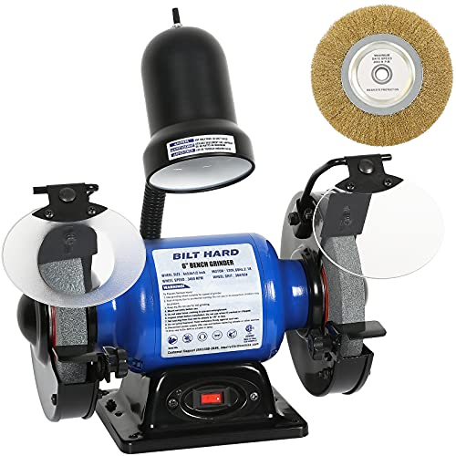 BILT HARD 2.1-Amp 6-Inch Bench Grinder with Light and Wire Wheel - CSA Listed
