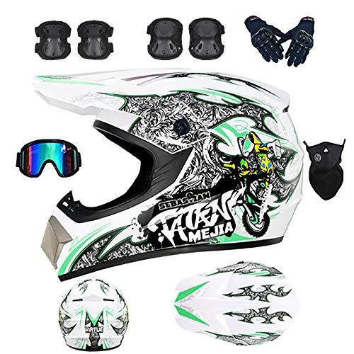 J&Z Casco de Motocicleta Adecuado para Adolescentes/Adultos Cross Country/Resistencia/ATV/BMX/Snowmobile/Bicicleta de montaña Valor...