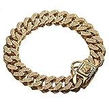 DUPFY 32 MM Domineering American Bully Dog Cadena De Acero Inoxidable Gold Dog Chain Pet Supplies Collar para Mascotas 16inch/41cm