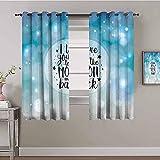 LHAOSIX cortinas opacas cortas ventana Azul degradado inglés burbuja 150x166cm 3D Impresión Digital 2 Paneles Poliéster con Ojetes reducción de Ruido Suaves Salon Dormitorio Decoración Para Hogar