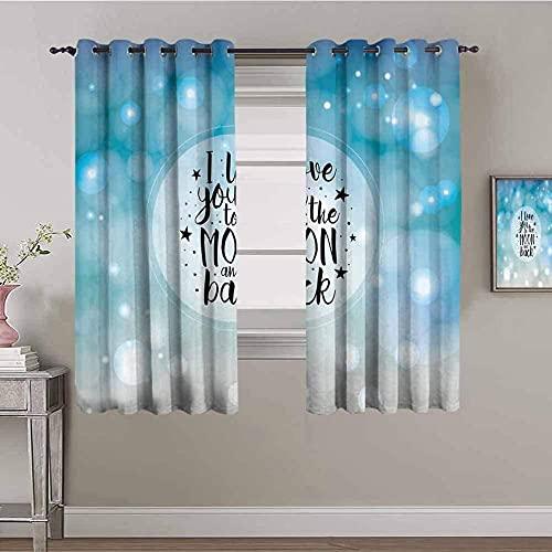 LHAOSIX cortinas opacas cortas Azul degradado inglés burbuja 145x245cm 3D Impresión Digital 2 Paneles Poliéster con Ojetes reducción de Ruido Suaves Salon Dormitorio Decoración Para Hogar