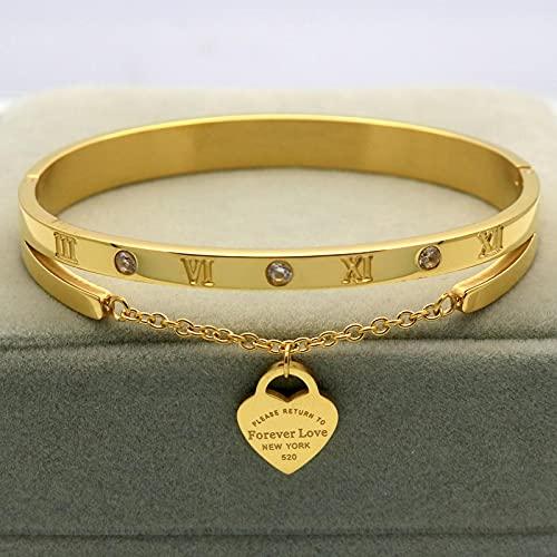 Armband Damen Design Luxus Marke Armband Frauen Hängen Herz Label Liebe Titan Stahl Armreif & Armbänder Für Frauen Schmuck Gold