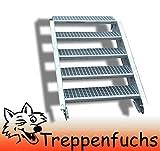 5 Stufen Stahltreppe Breite 60cm Geschosshöhe 70-105cm / Robuste Außentreppe / Wangentreppe / Stabile Industrietreppe für den Außenbereich / Inklusive Zubehör
