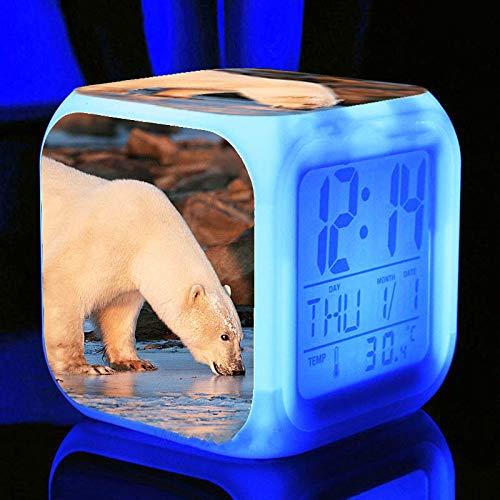 Wake Up Lights USB Polar Bear Mood Lamp Reloj Despertador Digital Para Niños Regalos De Cumpleaños LED Brillante Cambio De Color Reloj DespertadorD