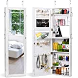 HOUSE DAY Jewelry Cabinet Wall Door Mounted Jewelry Organizer Mounted Lockable Jewelry Armoire Organizer with Full-Length Mirror Dressing Mirror Makeup Jewelry Storage (White)