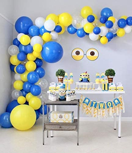 100Pcs Blue Yellow White Balloon Garland Arch Kit for Minions Party 100Pcs Latex Balloons 16 product image