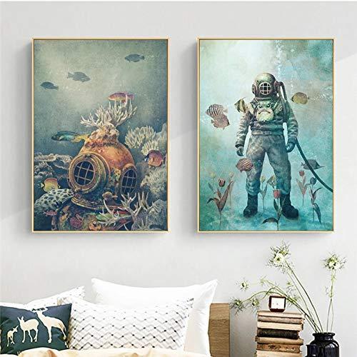 Cuadro sobre lienzo de buceo de mar profundo bajo el agua de ballena mundial arte de la pared impresiones póster de pared para la decoración de la sala de estar 30x50cmx2 sin marco
