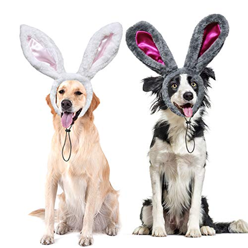 RYPET 2 PCS Easter Bunny Ears Headband - Dog Bunny Costume for Small to Large Dogs and Cats L