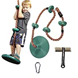 RedSwing Tree Climbing Rope with Platform and Disc Swing Seat, Children Tree Disc Swing Safety for Outside Inside, Bonus Hanging Strap & Carabiner, Green