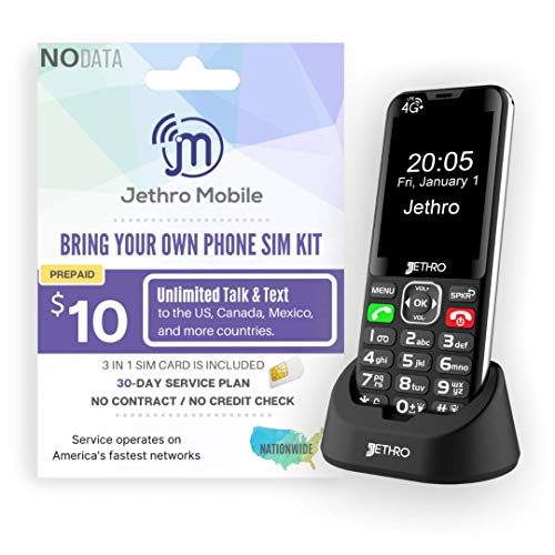 Jethro [SC490] 4G/LTE Unlocked Bar Style Cell Phone for Seniors and Kids with Unlimited 30 Days Plan, Large Screen & Big Buttons, Hearing Aid Compatible, Charging Dock, FCC & IC Certified.