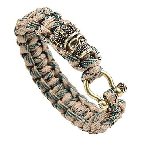 WXYBF Armband Ubeauty Kupfer Schädel Kopf Charm Nylon Seil geflochtene Schraube Verschluss Outdoor Field Survival Armband