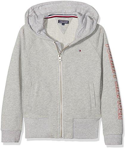 Tommy Hilfiger Mädchen AME Big Logo Hooded Zipthru Sweatjacke, Grau (Light Grey Htr 061), 92