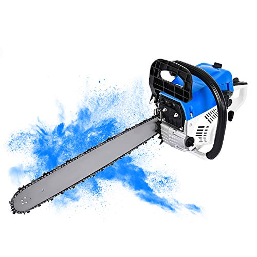 52cc Gas Chainsaw 20 Inch Power Chain Saws - 2-Stroke cordless Handed Petrol Chainsaws Gasoline Chain Saw Garden Tool for Cutting Wood Outdoor Home Farm Use (Blue)