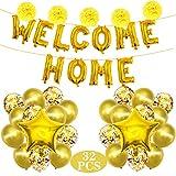 32 Set de Globos y Banner de Welcome Home,WELCOME HOME Banner,Bienvenida Globo Dorado Decoración Banner de Decoracion Home para Decoración del Hogar Suministros para Fiestas Familiares(Dorado)