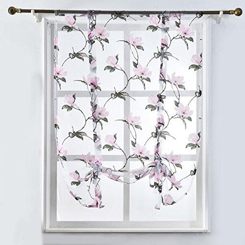 ExhilaraZ - Cortinas de tul con diseño de flores romanas para el hogar