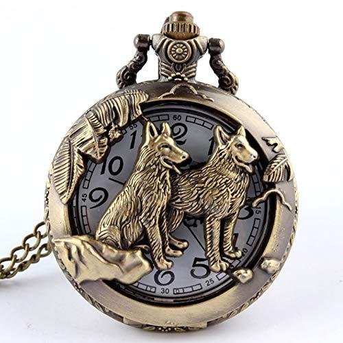 KJDS Reloj de bolsillo de cuarzo retro de bronce con diseño de perro lobo y lobo – con cadena para mujeres y hombres – Reloj de bolsillo clásico de cuarzo