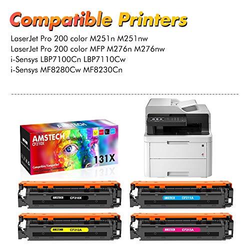 Amstech Remanufactured Toner Cartridge Replacement für HP CF210X 131X CF210A 131A HP131A Toner für HP Laserjet Pro 200 Color MFP M276n M276nw M251n M251nw M276 M251, 128A CE320A 125A CB540A Toner