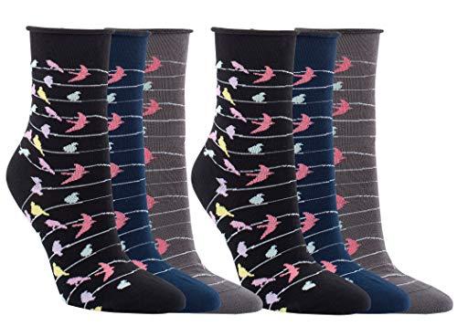 Vitasox 11961 Damen Socken Baumwolle Rollrand Damensocken bunt ohne Gummi ohne Naht 6 Paar 35/38