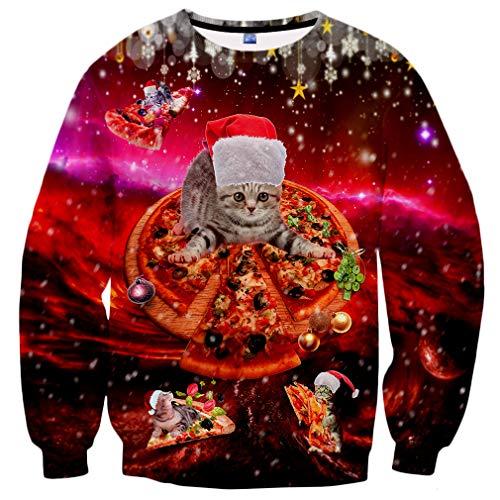 Yasswete Mens Womens Ugly Christmas Sweatshirts 3D Printed Crewneck Graphic Sweater Boys Girls Size XL