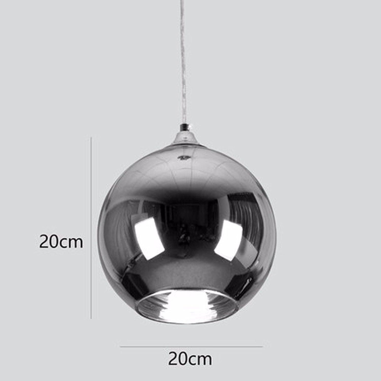 Einfache galvanische Glas sphrischen Kronleuchter single Head Office Cafe Restaurant bar Clothing Store Christmas Ball, Silber-Dia 20 cm