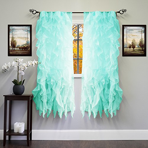 Sweet Home Collection Sheer Voile Vertical Ruffled Window Curtain Panel 50' x 63', 63' x 50', Sea, 2 Piece