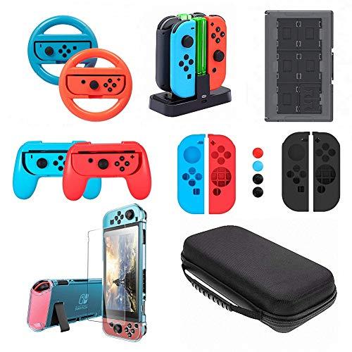 Zubehör-Set für Nintendo Switch, VOKOO Lenkrad, Ladestation, Spielaufbewahrung, Griffe, Dockable Schutzhülle, Displayschutzfolie, Tragetasche kompatibel mit Nintendo Switch, 10-in-1