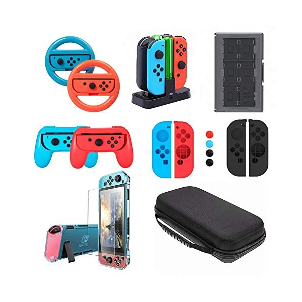 Accessories kit for Nintendo Switch, VOKOO Steering Wheel, Charging Dock, Game Storage Case, Grips,Dockable Cover Case, Screen Protector, Carrying Case Compatible with Nintendo Switch, 10-in-1