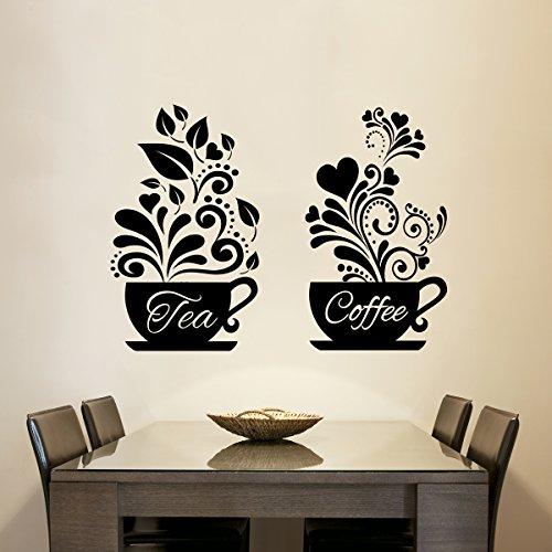 Kaffee + Tee Tassen Wand Aufkleber Home Decor Kaffeetasse Wand Kunst Liebe Tee Kaffeetassen Küche Wand Tee Aufkleber Vinyl Aufkleber Restaurant Pub Decor
