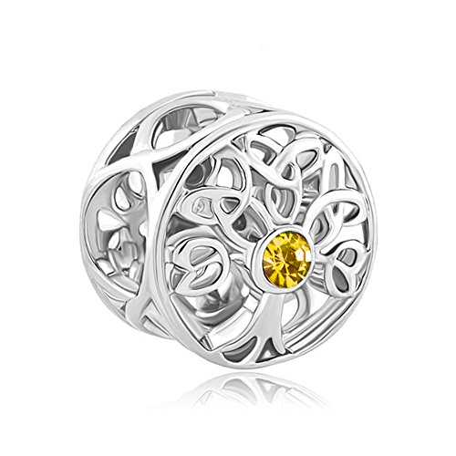 Cory Keyes Celtic Knot Charms Filigree Family Tree of Life Charm Beads for Bracelets (Nov Yellow)
