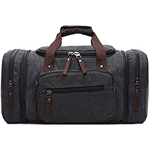 AIZBO Large Canvas Holdall Travel Duffel Bag Overnight Weekend/Weekender Bags for Men and Women(Expansion Capacity58 *25*30cm)(Black)