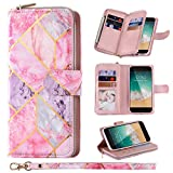 ZCDAYE Wallet Case for iPhone 7 iPhone 8 iPhone SE 2020,Premium[marble style][large space][zip compartment ] Folio PU Leather Flip Case Cover with 9 Card Slots Kickstand for iPhone 7/8/SE 2020-Pink