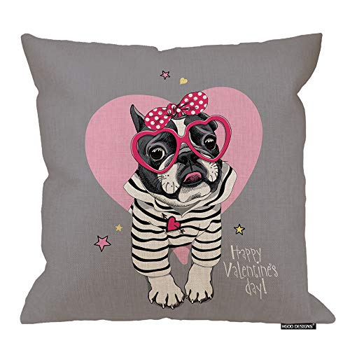 HGOD DESIGNS Bulldog Pillow Cover,French Bulldog in A Fun Pink Heart Glasses and with A Polka Dot Headband Cotton Linen Cushion Covers Home Decorative Throw Pillowcases 18x18inch
