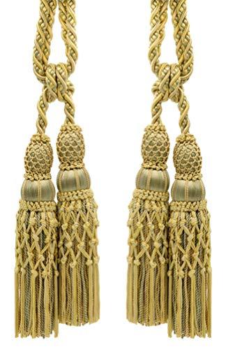Ellora Coll. TBEL10-2 (21465) Lot de 2 embrasses de rideaux Champagne doré et vert brume avec cordon de 9,5 mm